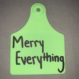 """(3/$20) green """"merry everything"""" cow tag keychain"""